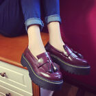 Slip On Fashion Women Tassels England Flatform Shoes Loafer Casual PU Shoes