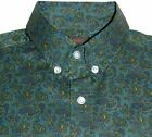 Green Paisley Men's Button Down Shirt Vintage Design - 100% Cotton Pop