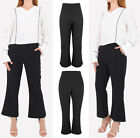 New Ladies Women High Waist Black Culotte Trousers  Size UK  8 10 12 14 16 18