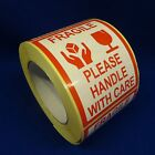 "Fragile Please Handle With Care 3""x4"" - Packing Shipping Handling Warning Label"