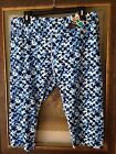 Half Moon womens stretch rouched capris leggings yoga pants blue print size XL