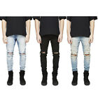 2017 New Men's Slim Fit Knee Hole Straight Elastic Denim Long Pants Ripped Jeans