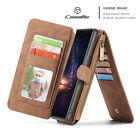 Retro Removable Leather Magnetic Wallet Flip Cards Case Cover For iPhone Samsung