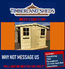 7x7 Garden Shed Fully T&G Tanalised Timber Cladding wooden Hut Sheds Summerhouse