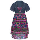 Little Girls Coral Blue Chambray Top Floral Print Hi-Low Casual Dress 4-6X