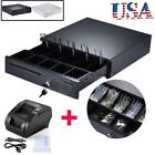 USB 58mm POS Thermal Dot Receipt Printer Set + Electronic Cash Drawer Roll Paper