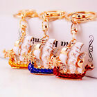 1pc Dragon Boat Keychain Crystal Key Ring Fashion Purse Bag Car Accessory