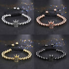 Fashion Men Women Crown Bracelet Beaded Braided Macrame Bracelet Adjustable