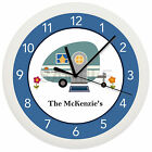 HAPPY CAMPER WALL CLOCK PERSONALIZED 10 INCH CAMPING CAMPGROUND BLUE