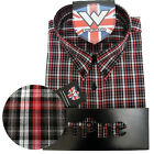 Warrior Short Sleeve Button Down Shirt JENNER Mod Skinhead Red Black SMALL only