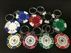 Upcycled Poker Chip Key Rings Keyring  - Novelty Casino / Bar Keychain Gift