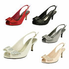 Ladies Anne Michelle F10253 Satin Peep Toe Sling Back Occasion Sandals