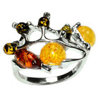 3.2g Authentic Baltic Amber 925 Sterling Silver Ring Jewelry N-A7366