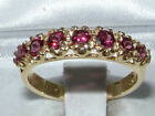 Solid 14ct Yellow Gold Natural Garnet Womens Band Ring - Sizes J to Z