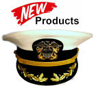 US NAVY COMMANDER CAPTAIN RANK WHITE HAT CAP AUTHENTIC NEW ALL SIZES - CP MADE