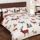 WOODLAND STAG CHRISTMAS DUVET COVER SET BEDDING ADULTS - DOUBLE & KING SIZE