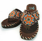 Montana West® Sassy Sista- Leather Uppers, Embroidered Wedge Sandals- Coffee