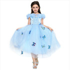 Girls Blue Glitter Cinderella Style Butterfly Pins Ballgown Party Princess Dress