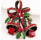 Fashion style Retro bells rhinestone crystal Christmas decor gift brooch pin T