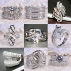 Women Men White Topaz Infinity Ring 925 Silver Jewelry Wedding Engagement Sz6-10