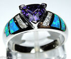 Amethyst & Blue Fire Opal Inlay Solid 925 Sterling Silver Ring size 6,7,8,9