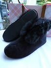 Slippers Charter Club Black Faux Fur Hard Bottom Small Bootie