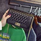 Korean Style Womens Bag Quilted PU Leather Chain Crossbody Shoulder Bags J3U3