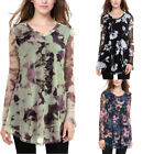 Women's V Neck Mesh Floral Printed Loose Flared Long Sleeve Top Tunic Plus Size