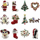 Xmas Rhinestone Crystal Snowman Stockings Santa Tree Brooch Pins Christmas Gift