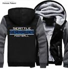 Seattle Seahawks Football Hoodie Zip up Jacket Coat Winter Warm Black and Gray on eBay