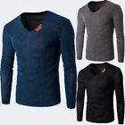 Men's Slim Fit Tee V Neck Long Sleeve Cotton Casual T-shirt Tops Blouse  M-3XL