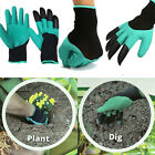 USA Genie Garden Gloves Digging Planting with 4 ABS Plastic Claws Gardening