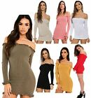 Womens Off Shoulder Knitted Bardot Ribbed Ruffle Trim Ladies Long Sleeve Top