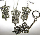 'BAT OUT OF HELL' SILVER SKELETON ON MOTORBIKE EARRINGS KEYRING NECKLACE SETS