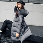 Fashion Womens Down cotton Coat Cotton-Padded Faux Fur Collar Hooded Jacket