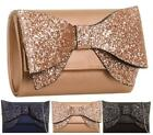 Ladies Glitter Bow Party Evening Bridal Wedding Handbag Envelope Prom Clutch Bag