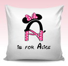 Personalised cushion cover INITIAL spotty Minnie Mickey Mouse design