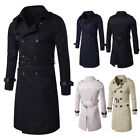 New Mens Slim Double Breasted Long Trench Coat Trenchcoat Jacket Male Black Coat