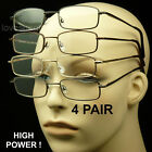 4 PAIR READING GLASSES CLEAR LENS SPRING HINGE PACK METAL HIGH POWER EXTRA NEW