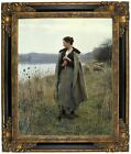 Knight The Shepherdess of Rolleboise 1896 Framed Canvas Print Repro 16x20