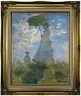 Monet On the rock cliff Madame Monet and her son Framed Canvas Print Repro 16x20
