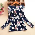 New Lady Women's Polka Dot Floral Printed O-Neck Long Sleeve Roll-up ES9P