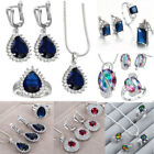 925 Silver Sterling Crystal Zircon Earring Ring Necklace Statement Jewelry Set