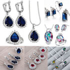 925 Silver Jewelry Set Crystal Earring Ring Necklace Pendant Statement Wedding