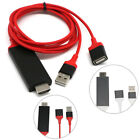 Red 3 in 1 MHL USB to HDMI HD TV Adapter Cable for iPhone &Samsung Galaxy S7/ S6