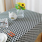 Black White Triangles Tablecloth Cotton Linen Dinner Table Covering Home Decor