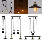 Vintage Industrial Hanging Pulley Pendant Lights Retro Retractable Ceiling Lamps