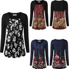 Women Long Sleeve Lace Sexy Pleated Front Blouse Floral Print Top  Plus Size