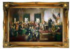 Christy Signing of the Constitution 1940 Wood Framed Canvas Print Repro 19x30
