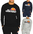 ellesse Mens Cotton Crew Neck Print Logo Sweatshirt Black Blue Grey Sweat Top
